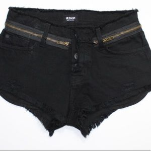 4111ed67c Hudson Jeans Shorts - Hudson Black Rebel Destroyed Zipper Short Shorts